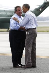 Chris Christie hugs Obama - click to embiggen