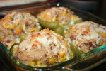 Brown Rice & Sausage Stuffed Green Peppers